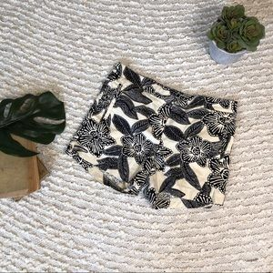 J.crew cream and black cotton blend shorts